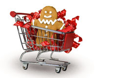 Gingerbread Cookie In Cart Stock Photos