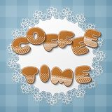 Gingerbread cookie letters. Coffee time cookies inscription made of gingerbread cookies with icing on lace doily. Vector Illustration Stock Images