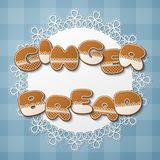 Gingerbread cookie letters. Gingerbread inscription made of gingerbread cookies with icing on lace doily. Vector Illustration Royalty Free Stock Photo