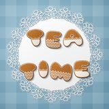 Gingerbread cookie letters. Tea time inscription made of gingerbread cookies with icing on lace doily. Vector Illustration Royalty Free Stock Photo