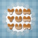 Gingerbread cookie letters. Yum yum yum inscription made of gingerbread cookies with icing on lace doily. Vector Illustration Stock Image