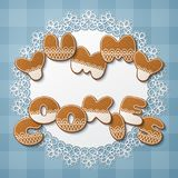 Gingerbread cookie letters. Yummy cookies inscription made of gingerbread cookies with icing on lace doily. Vector Illustration Royalty Free Stock Photography