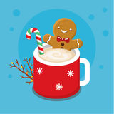 Gingerbread cookie man in a hot cup vector illustration