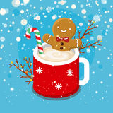 Gingerbread cookie man in a hot cup. Christmas card with nice cartoon character. Gingerbread cookie man in a hot cup of cappuccino. Flat design, vector royalty free illustration