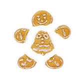 Gingerbread cookie man in pieces Royalty Free Stock Photos