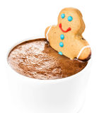 Gingerbread cookie man take a bath in cup of Hot Chocolate, isol Royalty Free Stock Image