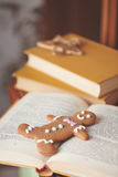 Gingerbread cookie men in a hot cup of cappuccino Royalty Free Stock Photography