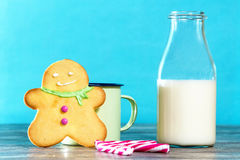 Gingerbread cookie and milk Stock Image