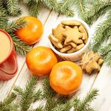 Gingerbread Cookie. NewYear. Orange tangerines. Spruce branch.  royalty free stock photos