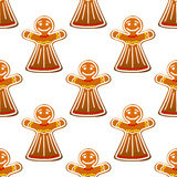 Gingerbread cookie people seamless Royalty Free Stock Photo