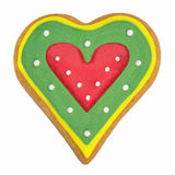 Gingerbread cookie with a red heart Stock Photography