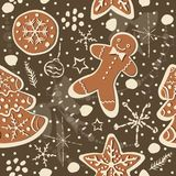 Gingerbread cookie seamless background. Creative Design. Vector Illustration Stock Photo