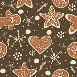 Gingerbread cookie seamless background. Creative Design. Vector Illustration Stock Image