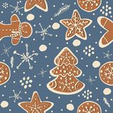 Gingerbread cookie seamless background. Creative Design. Vector Illustration Royalty Free Stock Photography