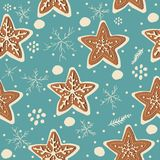 Gingerbread cookie seamless background. Creative Design. Vector Illustration Royalty Free Stock Photo