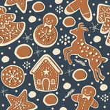 Gingerbread cookie seamless background. Creative Design. Vector Illustration Royalty Free Stock Images