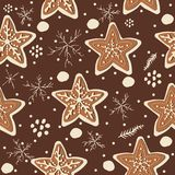 Gingerbread cookie seamless background. Creative Design. Vector Illustration Royalty Free Stock Photos