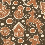 Gingerbread cookie seamless background. Creative Design. Vector Illustration Royalty Free Stock Image