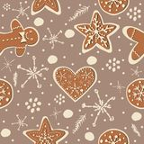 Gingerbread cookie seamless background. Creative Design. Vector Illustration Stock Images