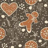 Gingerbread cookie seamless background. Creative Design. Vector Illustration Stock Photography