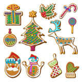 Gingerbread cookie set. Gingerbread christmas cookies icons set. Textured gingerbread cookies with sweet color glaze on it. Vector  illustration on white Stock Photography