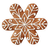 Gingerbread cookie in snowflake shape. Stock Photos