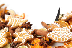 Gingerbread cookie and spice Christmas frame Stock Photography