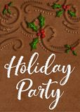 Gingerbread Cookie Holiday Party Card royalty free stock photo
