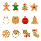 Gingerbread cookie vector icon set Stock Photo