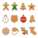 Gingerbread cookie vector icon set Stock Image