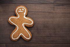 Gingerbread cookie on the wooden background Royalty Free Stock Photography