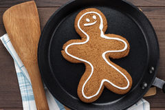 Gingerbread cookie on the wooden background Stock Image