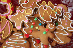 Gingerbread cookies. Colorful christmas gingerbread man and tree cookies Royalty Free Stock Image