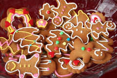 Gingerbread cookies. Colorful christmas gingerbread man and tree cookies Stock Photo
