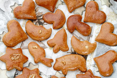 Gingerbread cookies. Christmas gingerbread cookies on the christmas background Stock Photo