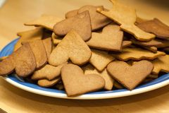 Gingerbread cookies. Different shapes of gingerbread cookies - a Swedish christmas tradition Stock Images
