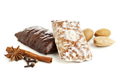 Gingerbread cookies, almonds and spices Royalty Free Stock Photography