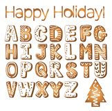Gingerbread cookies alphabet holidays ginger cookie isolated font text food biscuit xmas letter vector illustration. Merry Christmas and Happy New Year figures vector illustration