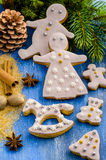 Gingerbread cookies. On a background of spices and Christmas trees Royalty Free Stock Photos