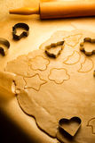 Gingerbread cookies before baking Royalty Free Stock Images