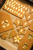 Gingerbread cookies on baking tray Stock Photo