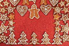 Gingerbread cookies border Stock Photography
