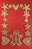 Gingerbread cookies border Stock Images