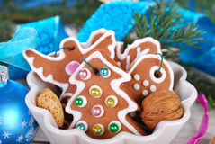 Gingerbread cookies in a bowl for christmas Royalty Free Stock Image