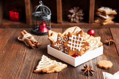 Gingerbread cookies in box Royalty Free Stock Images
