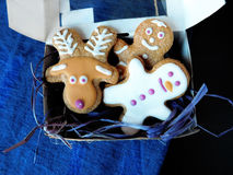 Gingerbread cookies in a box. A set of gingerbread cookies covered with icing in a box royalty free stock images