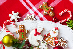 Gingerbread cookies  and candies Stock Images
