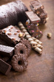 Gingerbread cookies and chocolate Royalty Free Stock Photography
