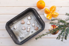 Gingerbread cookies with Christmas attributes Stock Image
