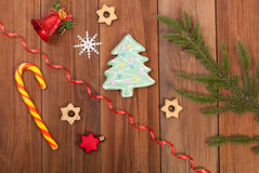 Gingerbread cookies and Christmas balls Royalty Free Stock Photography